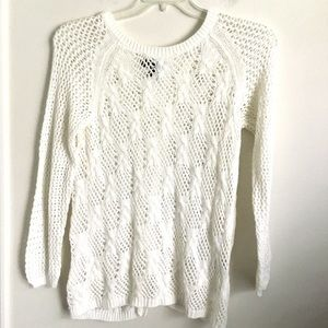 Jessica Simpson Sheer Knit Open Back Sweater Large